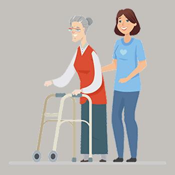 Caregiver assisting an elder woman to take a walk.