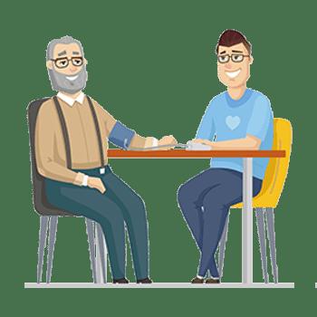 Caregiver measuring an elder man's blood pressure.